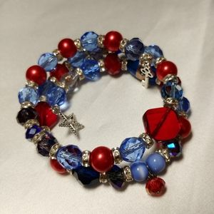 Galaxy Red & Blue with Silver Charms Wrap Bracelet